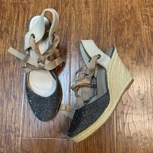 Lace up espadrille wedges size 10